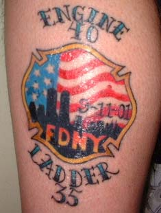 FF Ray Pfeifers tattoo paying tribute to the brothers lost on 9-11